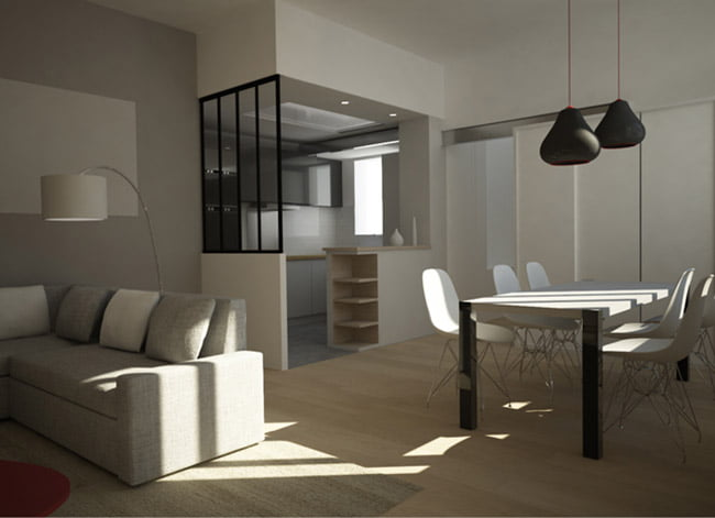am nagement d 39 un logement de 68 m2 paris. Black Bedroom Furniture Sets. Home Design Ideas