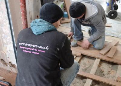 Rénovation d'un plancher chêne sur lambourdes
