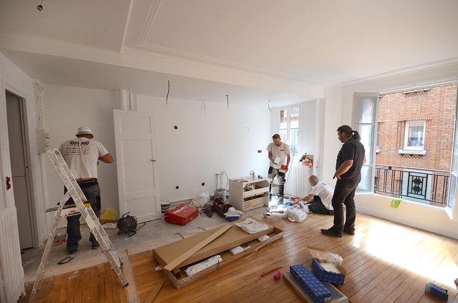 travaux d 39 am nagement d 39 un appartement de 45 m2 paris 17 drop. Black Bedroom Furniture Sets. Home Design Ideas