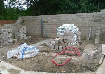 Montage des murs de l'extension