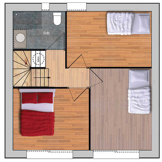 configuration d'une maison à ossature bois