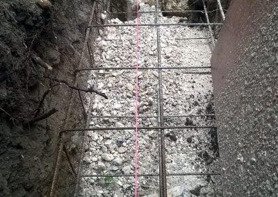 Remplissage des fondations en béton armé