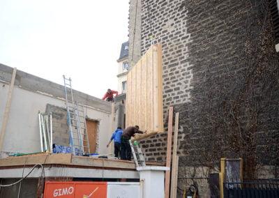 Réception du mur en bois