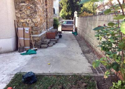 Travaux de rénovation dans un jardin
