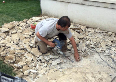 Démolition de pavage de pierre
